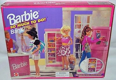 Nib-Rare 1995 Barbie So Much To Do Bank Playset-Large Safe,atm Machine,gold Bars