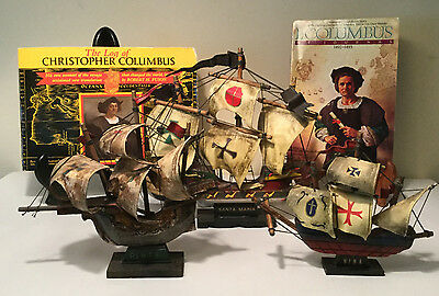 Christopher Columbus' 3 Ships, Wooden Model Replicas + 2 Books - Great Display!