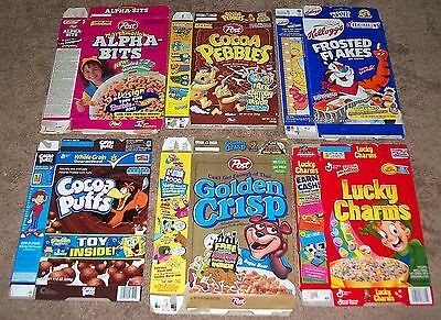 6 Diff. 97-11 Vintage Cereal Box Flats Cocoa Pebbles Frosted Flakes Cocoa Puffs+