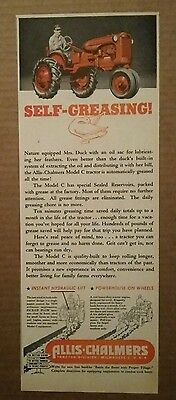 1945 Allis Chalmers Tractor Modelc C Self Greasing Ad