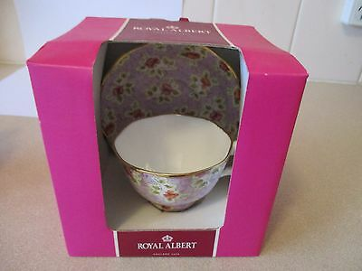Royal Albert Vintage Florals Lilac Cup/Saucer Set Chintz 2008 New In Box