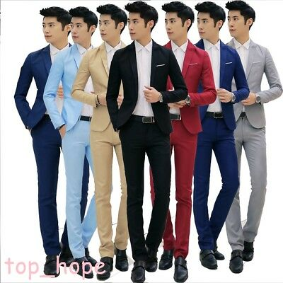 Men's Groomsmen Formal Slim Fit Wedding Suits Groom Tuxedos Jacket+Pants Costume