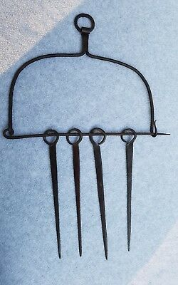 Antique Hearth Dangling Skewer & Holder Wrought Iron 18th Century Early American