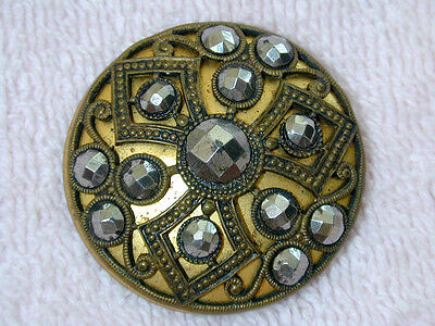 "Gorgeous LARGE Antique Metal Brass Button w Cut Riveted Steel  1 7/16"" Triad"