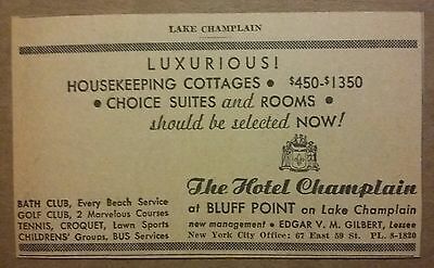 1940 The Hotel Champlain at Bluff Point Ad Lake Champlain