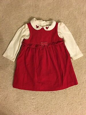 Gymboree Girl's Red Corduroy Dress With White Bodysuit Size 6-12 Months