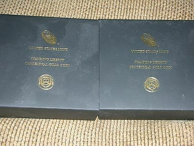 2016 W Gold Standing Liberty Quarter 2 each OGP, Boxes & COA only, NO COINS