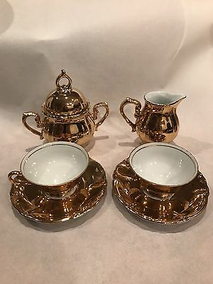 Demitasse Gold Plated Porcelain Set - Old And EUC -So Sweet