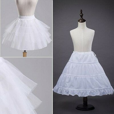 2 Hoop Children Petticoat Slips Flower Girls Bridal Crinoline Underskirts White