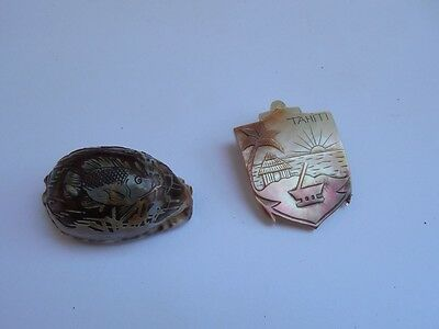 2X Vintage Tahiti Shell Souvenir Cowrie Shell And Pin