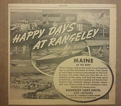 1941 Rangeley Lake Hotel & Cottages Ad Maine