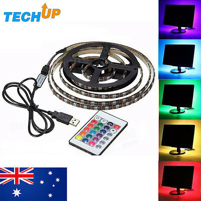 1M USB Powered RGB LED Strip Lighting Colour Change Background For TV PC Laptop