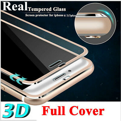 For iPhone 6s 7 Plus Screen Protector 3D  Alloy Edge Full Cover Tempered Glass
