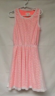 Children's Place Girls Sleeveless Dress White And Coral Size M(7/8)