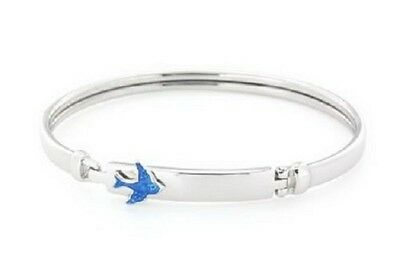 Baby Girls/toddlers 925 Sterling Silver Bluebird Id Bangle With Clip Opening