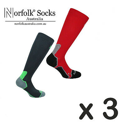 3 x Norfolk Mens Running, Compression Sock with Bacteriostatic Fibre - Bekele