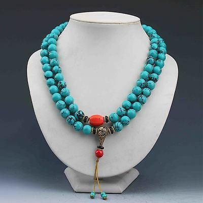 China Collectibles Handwork Turquoise & Beeswax Toyed Prayer Bead  Necklace G689