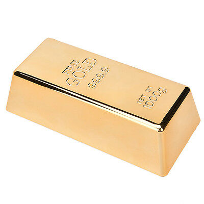 Fake Gold Bar Plate Bullion Door Stop Paper Weight Desk Office Table H&T
