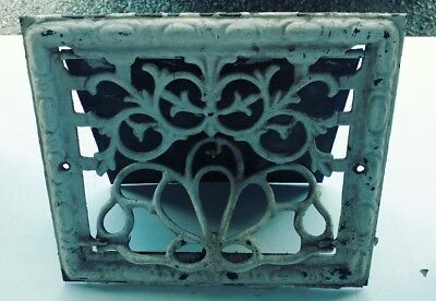 "Vintage Ornate Cast Iron 13.5"" X 11.5"" Wall Register Vent Heater Vent"