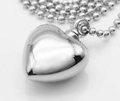 Full heart highly polished s/steel silver cremation urn pendant for keepsakes