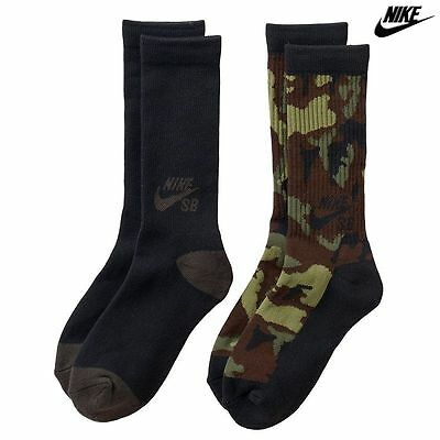 Nike SB 2-pk. Boy's High Crew Socks Size M (5Y-7Y) BSB1052 Black Green