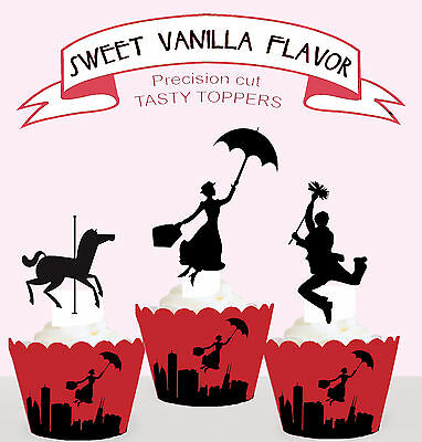 Mary Poppins Birthday Party Vanilla Cupcake Toppers cup cake