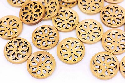 Flower Filigree Wooden Sewing Buttons Floral Cut Out Large Coat DIY 30mm 3pcs
