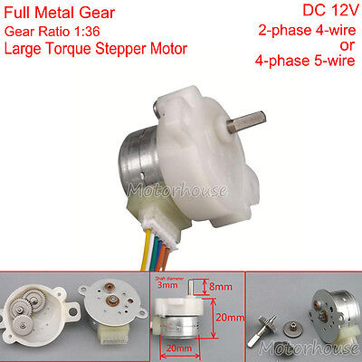 DC 12V 20mm 2-phase 4-wire Mini metal Gear stepper Reduction motor Large Torque
