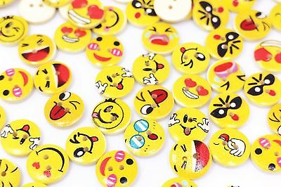 Emoji Wooden Sewing Buttons Mixed Patterns Smiley Two Holes Yellow DIY 15mm 3pcs