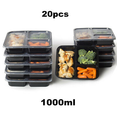 20pcs Microwavable Meal Prep Containers Plastic Food Storage Reusable Lunch Box