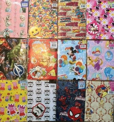 2 Wrapping Paper,Gift Tag Children's/kids STAR WARS,PEPPA PIG,THOMAS,MARVEL,HULK