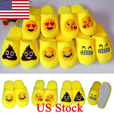 US Emoji Plush Stuffed Unisex Slippers Cartoon Warm Home Indoor Fluffy Shoes New