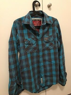 Superdry men's Shirt L/sleeve Small Blue