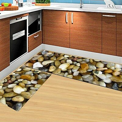 2Pcs Non-Slip Kitchen Bedroom Mat Rubber Backing Doormat Runner Rug Carpet Set