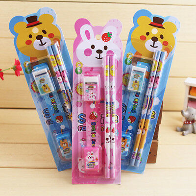 A set of stationery in a pack Pencil Earaser Sharpener Kids Students Gift Prizes