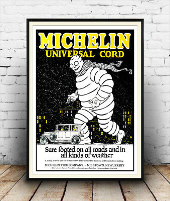 Michelin: Vintage car tyre advertising , Wall art , poster, Reproduction.