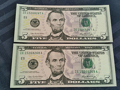 USA 2006 $5 notes x 4 unc and consecutive