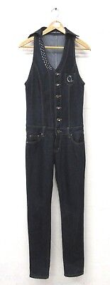 Cland Jones Diamante Embellished Blue Denim Jumpsuit All In One Size 8 L34""