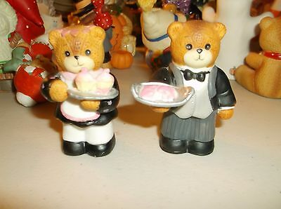 Set of 2 Lucy & Me Bear Figurines,Waiter/Waitress