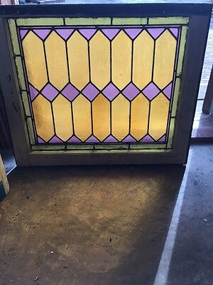 """Sg 648 Very Colorful Antique Stainglass Window 23.5"""" X 28.5"""""""