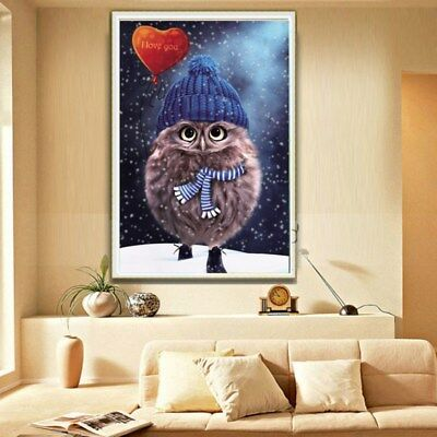 Cute Owl Painting Cross Stitch 5D DIY Round Diamond Full Embroidery Home Decor