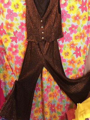 Vntg Metallic Rust~Bell Bottoms w Matching METALLIC Vest 60s -70s` Sz 5 SKINNY