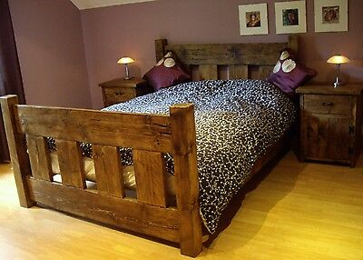 New Solid Wood Rustic Chunky Kingsize Wooden Slat Bed