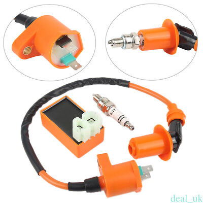 Moped Dirt Bike Electronic Ignition Coil +Spark Plug+AC CDI For GY6 50/125/150CC