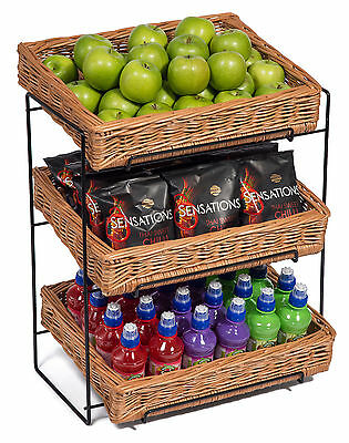 Wicker Three Tier Display Stand Countertop