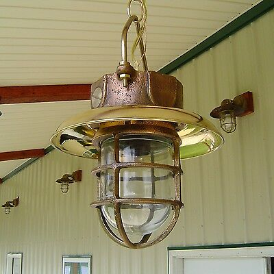 Vintage Brass Hanging Light With Deflector Cover - Nautical Pauluhn Light