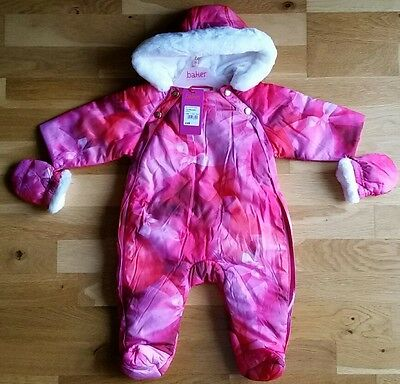 Ted Baker Girls Bow Snowsuit/Pramsuit - pink - Age 3-6mths BNWT