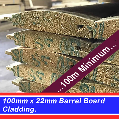 Timber cladding 100mm x 22mm shiplap grade a tanalised log lap 100m Min Order