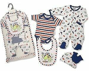 Brand New Baby Boys 5piece Gift Set Sleepsuit, Vest, Bib, Hat & Mitts Hungry