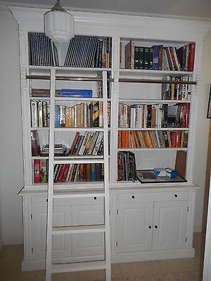 French Provincial Style Library Bookcase With Ladder. Solid Birch timber.